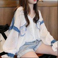 Mumuzi mulheres camisa contraste cor retro chiffon blusa manga longa camisas femininas outono design hit tops
