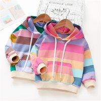 Kızlar ilkbahar sonbahar çocuk giyim çocuk moda kazak gökkuşağı şerit hoodies 201222 106 106 z2