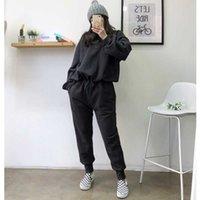 Autumn Winter 2 Peice Set Women Elegant Pants s Casual Outfits Jogger Two Piece Korean Sports Suit Black Cotton Tracksuit 210607