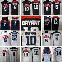 Баскетбол 2012 Team Usa Jersey 10 Kb Kevin Durant Lebron 6 James 12 Harden Russell WestBrook Chris Paul Deron Williams Энтони Дэвис США