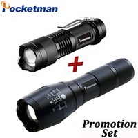 Drop Shipper Promotion Set! Linterna LED T6 Tactical Flash Light + Q5 Mini Torch Lanterna Zoomable Impermeable Linterna Bicicleta