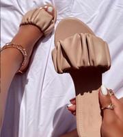 Pantoufles Rela Bota Femmes Sandales plates Plisses Flip Flops Chaussures d'extérieur Femme Casual Plus Taille Taille 2021 été