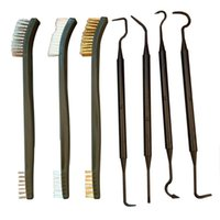 Car Sponge 3 Wire Brushes And 4 Nylon Picks Double-headed Pick Brush Kit Multipurpose Interior Detailing Cleaning Tool Accessories