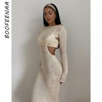 Casual Dresses BOOFEENAA Sexy Knitted Sweater Two Piece Dress Sets Elegant Hollow Out Long Sleeve Bodycon Maxi For Women 2021 C82-EB24