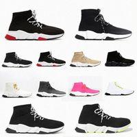 2021 디자이너 남성 여성 속도 신발 2.0 레이스 업 클리어 솔 트리플 트레이너 Clearsole 양말 부츠 양말 캐주얼 블랙 망 신발 스니커즈