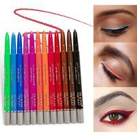 Renkler Eyeliner Set Renkli Neon Yeşil Beyaz Mat Kalem İşlevli Kozmetik Makyaj Aracı Su Geçirmez Göz Farı / Astar Kombinasyonu