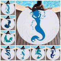 150 cm adultos toalla de baño azul sirena impresa grandes toallas redondas de playa para niños Mat microfibra de estera con borlas gruesas Terry