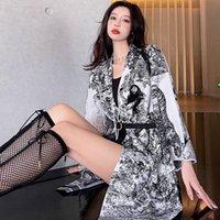 Femmes Baroque motif tricot manteau classique élégant designer femme long mélanges de long mélanges décontractés décontracté robes de dame en vrac
