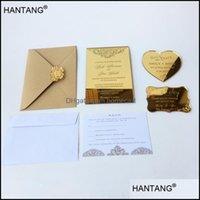 Grußveranstaltung Festliche Partei liefert Home GardenGreeting-Karten 115x175mm REC-Form Gravierter goldener Spiegel-Acryl-Hochzeits-Einladungs-Karte