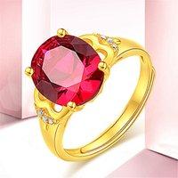 Zandrood grote naakte steen open ring koper vergulde gouden imitatie sieraden