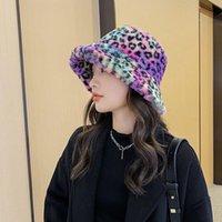 Wide Brim Hats Fluffy Rainbow Stripe Leopard Bucket Hat Lamb Wool Winter Warm Fishing Caps Men Women Tide Flat Top
