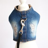 Fleece Lining Dog Harness Leash Set Fashion Winter Denim Vest Style For Small Medium Dogs Pet Walking Chest Strap Collars & Leashes