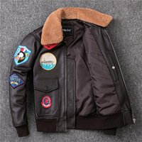 G1 공군 비행 폭격기 암소 가죽 자켓 양고기 모피 칼라 짙은 갈색 패치 디자인 모토 사이클 슈트