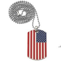 New American Flag Pendants Necklaces Gold Plated Stainless Steel Military Army Tag Trendy USA Symbol for Men women Jewelry DWD7384