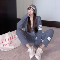 Women's Hoodies & Sweatshirts 2021 Winter Autumn Sports Fashion Hoodie And Pants Two Pieces Women Set Hooded Zipper Up Striped Printed Long