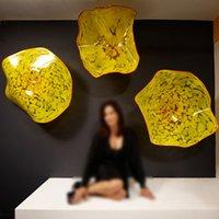 مصباح تصميم عصري كبير مورانو الزجاج الأطباق 3 قطع صفيحة مثبتة الجدار للمنزل الأصفر اللون الفاخر شنقا داخلي الفن الزخرفية قطرها 30 إلى 50 سم