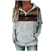 Women's Hoodies & Sweatshirts Pullover Womens Button Collar Drawstring Stitching Ladies Clothing Hoodie Sudaderas Con Capucha *8#671