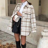 ZXQJ Mulheres Vintage Tweed Soft Camisas 2021 Spring-outono moda senhoras elegante blusas soltas streetwear meninas de tamanho grande outwear