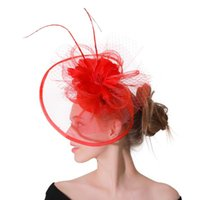Hair Accessories Red Fascinators Hat For Women Wedding Party Headband French Mesh Veil Hoop Ornaments Bride Feathers Hairpin Cocktail Hats
