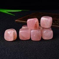 6 sztuk Polerowany Naturalny Róża Kwarc Cube Tumbled Stone Gravel Kamień Kryształ Różowy Ręcznie polerowany Dla Fish Tank Decor Ogród Heal