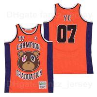 Moive Kanye West Jersey 07 Ye álbum de graduación Cubierta Hip Hop Rap Champion Baloncesto Hiphop Hiphop Team Transpirable Color Orange Pure Cotton University para los fanáticos del deporte Hombres