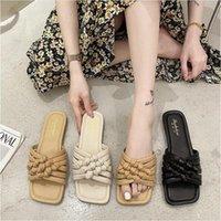 Slippers Women 2021 Women's Shoes Summer Weaving Flat Sandals And