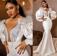 Aso Ebi Mermaid Crystals Wedding Gowns 2021 Plus Size Arabic Long Sleeve Crepe Stain Trumpet Beach Garden Bridal Dress