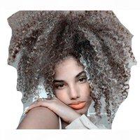 Schwarze Frauen graue Haarverlängerung silber grau afro bluf kinky lockig kordelzug menschliches haar ponytails clip in 100% echtes haar 100g 120g frei