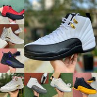 Top Quality Basse Pâques 12 12S Mens Basketball Chaussures Noir Université Gold Indigo Game Dark Concord Ovo White Reverse Taxi Fiba The Master Trainer Sneakers