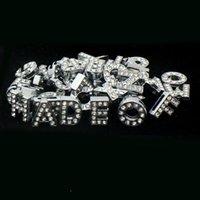 (500 piezas / lote) 8 mm / 10 mm A-Z letras de diamantes de imitación para el nombre de DIY MET! DIY Dog Cat Pet Pet Colllar Slide Charm Letras 1325 T2