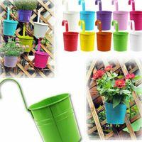 Metall hängande blomkruka med avtagbar krok godis färg trädgård planter hink för balkong blommor korg heminredning växter krukor fhl170-wll