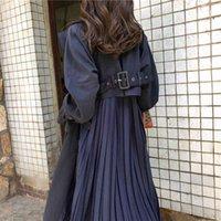 2020 nouvelles femmes coupe-vent printemps chic long manteaux féminin tranchée de mousseline de mousseline de mousseline de mousseline de mousseline plissée de survêtement mince usure