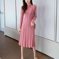 Casual Dresses Autumn Korean Style Long-sleeved Temperament Rib Knitted A-line Over-the-knee Knit Dress AAAV