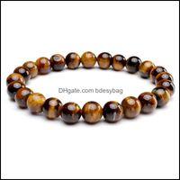Beaded, Jewelrynatural Stone Beaded Tiger Eye Bracelets Strands Lava Bangles Rope Chain Wristband Women Men Jewelry Drop Delivery 2021 Tsg9K