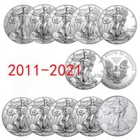 Hot 11Pcs United Statue of Liberty 2011~2021 Challenge Coin Collectibles Silver New Year Gifts Commemorative Fine Collection SCollection Home Decoration