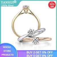 Yanhui Authentic 925 Sterling Round Zirconia Diamond Finger Rings for Women Wedding Original Silver Jewelry Jz040