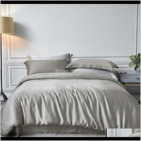Sets Supplies Textiles & Garden Drop Delivery 2021 3Pcs Gray White Wash Silk Bedding Luxury Home Textile King Size Bed Bedclothes Quilt Duvet