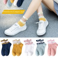 5 Pairs Summer Woman Socks Letter Patterned Transparent Breathable Ultra Thin Short Ankle Socks Female Sox Calcetines Mujer