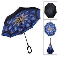 Windproof الطابق المقلوب مقلوب مظلة C مقبض مظلة التلقائي عكس مظلة مقبض طويل للسيارة تحمل كل من الاستخدام المشمس والمطر
