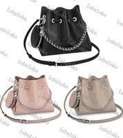 M57201 Mahin المرأة مثقبة دلو حقيبة حقيقية العجل الجلود جولة عملة محفظة حقيبة الكتف سلسلة فضية حقيبة يد crossbody