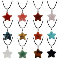 Natural Crystal Stone Pendant Necklace Creative Star Gemstone Necklaces Hand Carved Women's Fashion Accessory With Chain