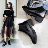 Shoes For Women 2021 Leather Chunky Snow Lolita Winter Rain Boots Goth Cowboy Platform High Heels