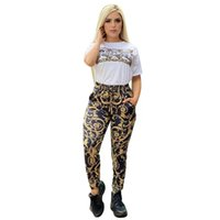European And American Tracksuits Cross-Dorder Women's Fashion Printing Casual Slim Two-Piece Set Spot