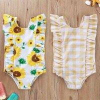 طفل الفتيات عباد الشمس ملابس السباحة الاطفال منقوشة الأزهار المطبوعة بيكيني قطعة واحدة يطير الطفل كم ملابس سباحة الرضع الصيف الاستحمام دعوى D879