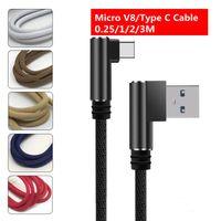 마이크로 USB 케이블 더블 팔꿈치 90도 빠른 데이터 코드 PowerBank 노트북 휴대 전화 유형 C 충전기 와이어 0.25 / 1 / 2 / 3m