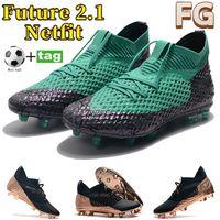 أحدث المرابط كرة القدم المستقبل 2.1 Netfit FG الرجال أحذية كرة القدم الأسود روز الذهب الزمرد الأزياء الرياضية رياضية رجل المدربين مع الهدايا