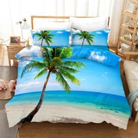 Blue Sea Beach 3D Duvet Cover Set Natural Scenery Print Bed Clothes Boys Twin Full Queen King Size Bed Linen Set Romantic Style