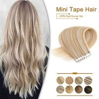 """ZURIA Straight Mini Tape In Human Extensions Invisible Skin Weft Adhesive Mixed color 12""""16""""20"""" 100% Natural Real Hair"""