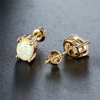 Stud Vintage Gold Silver Color Wedding Earrings Luxury Bride White Fire Opal Dainty Oval Small Stone For Women