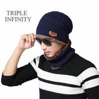 Chapeaux extérieur triple infini crullies crullies hiver tricoté hommes épais chapeau chaude chapeau chaude ski cyclisme montage chapeau masculin